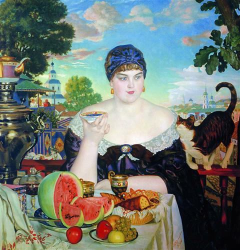 Boris Kustodiev A Merchant's Wife at Tea